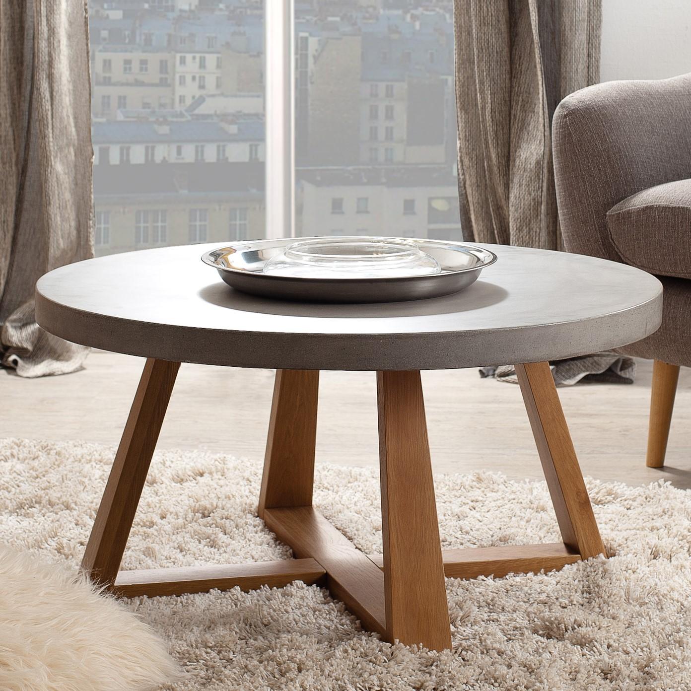 basse Table chêne ronde D91 et béton FERRER 4j5RAL
