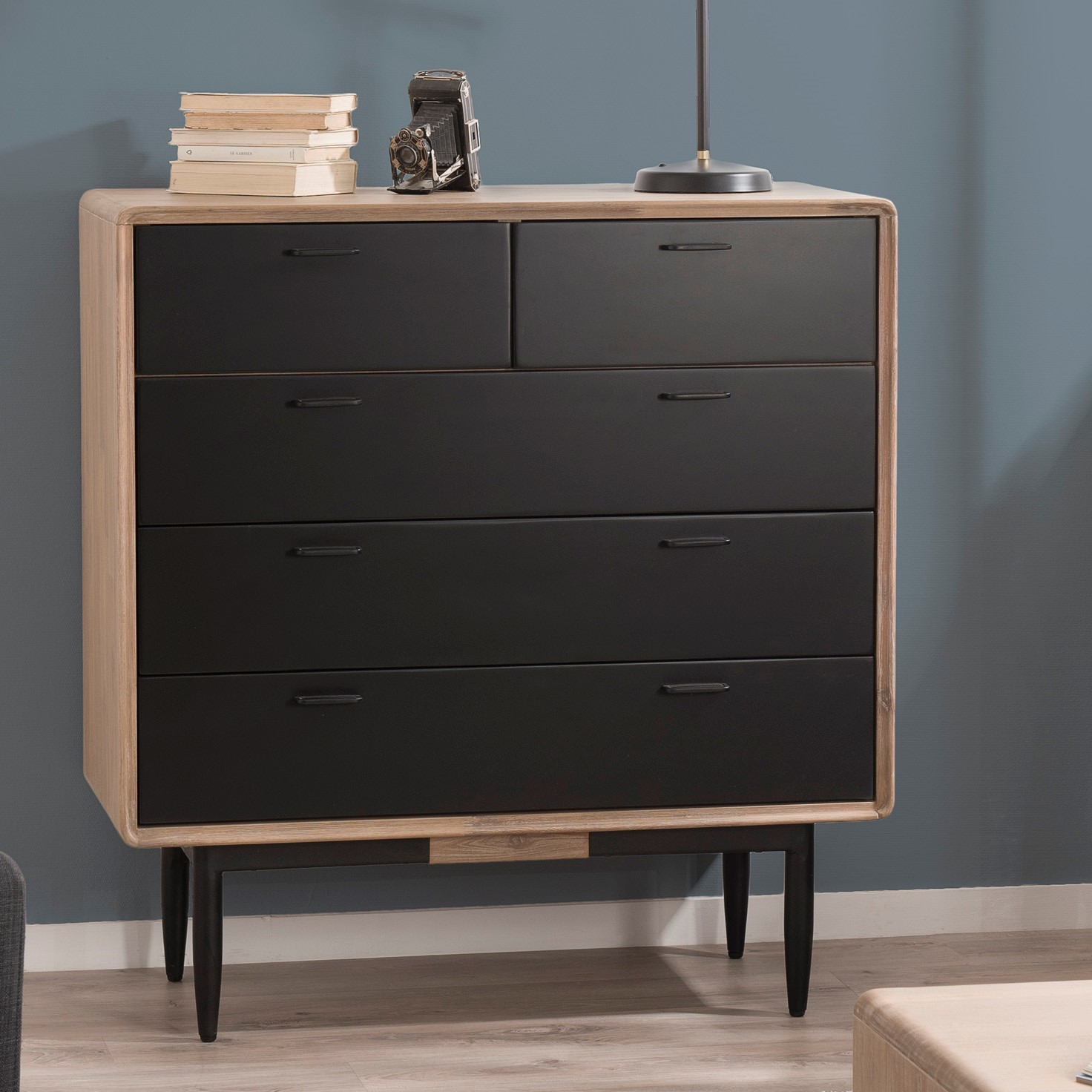 Commode Chambre Style Industriel commode noire bois massif palmeira