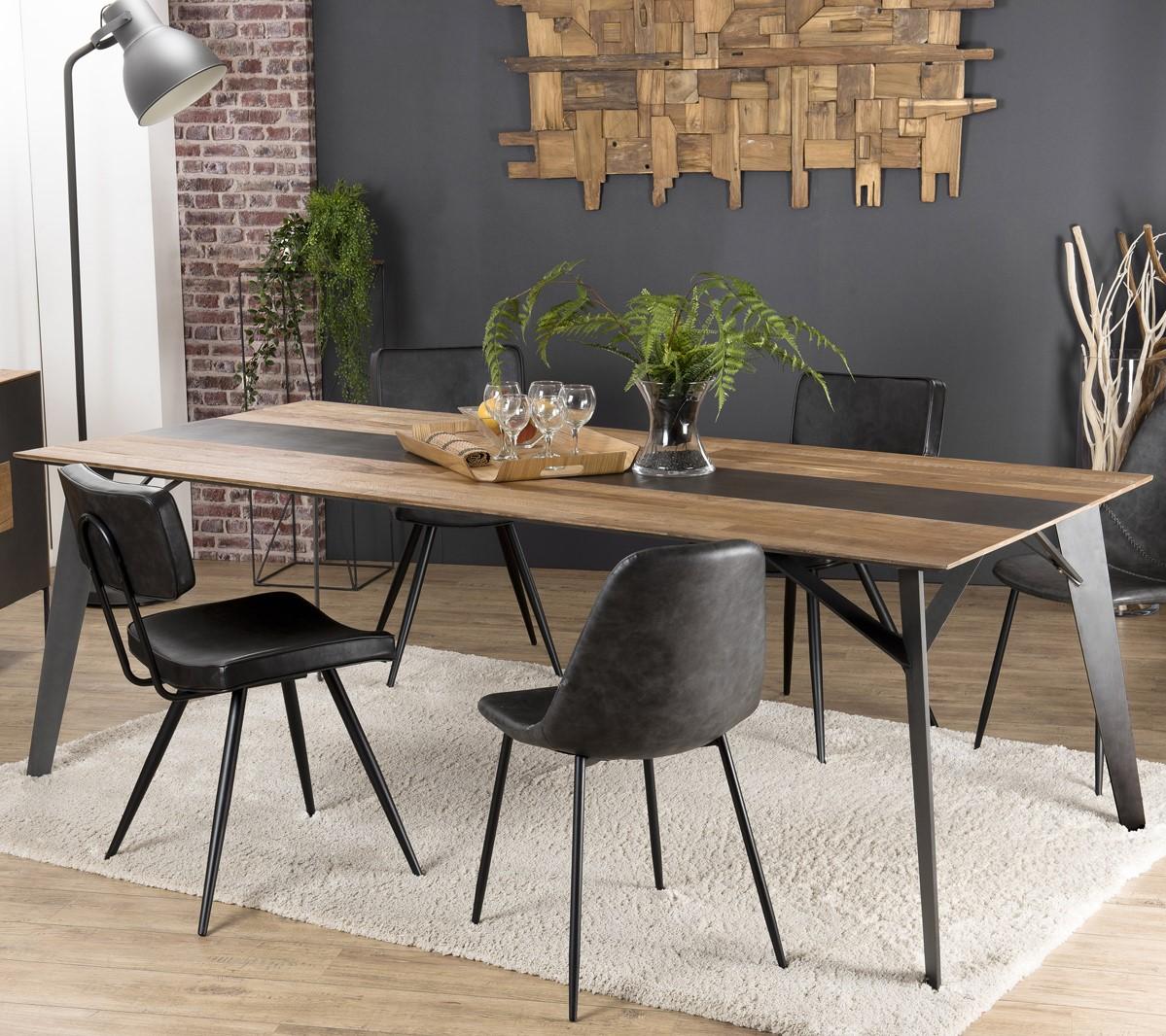 Table À Manger Industrielle table à manger industrielle teck recyclé 220x100 panama