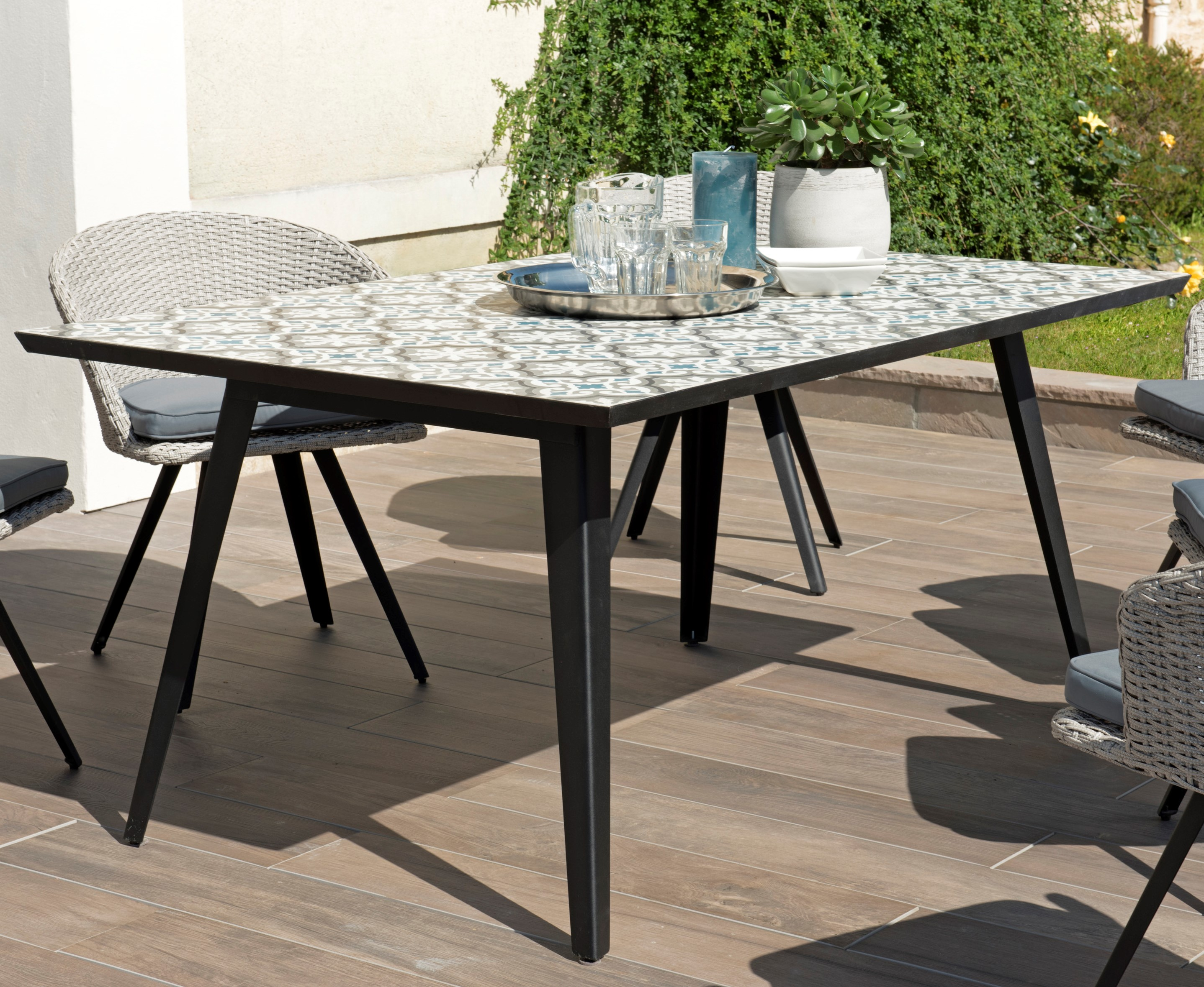 Table de jardin 6 personnes carreaux de ciment 162x102 SUMMER