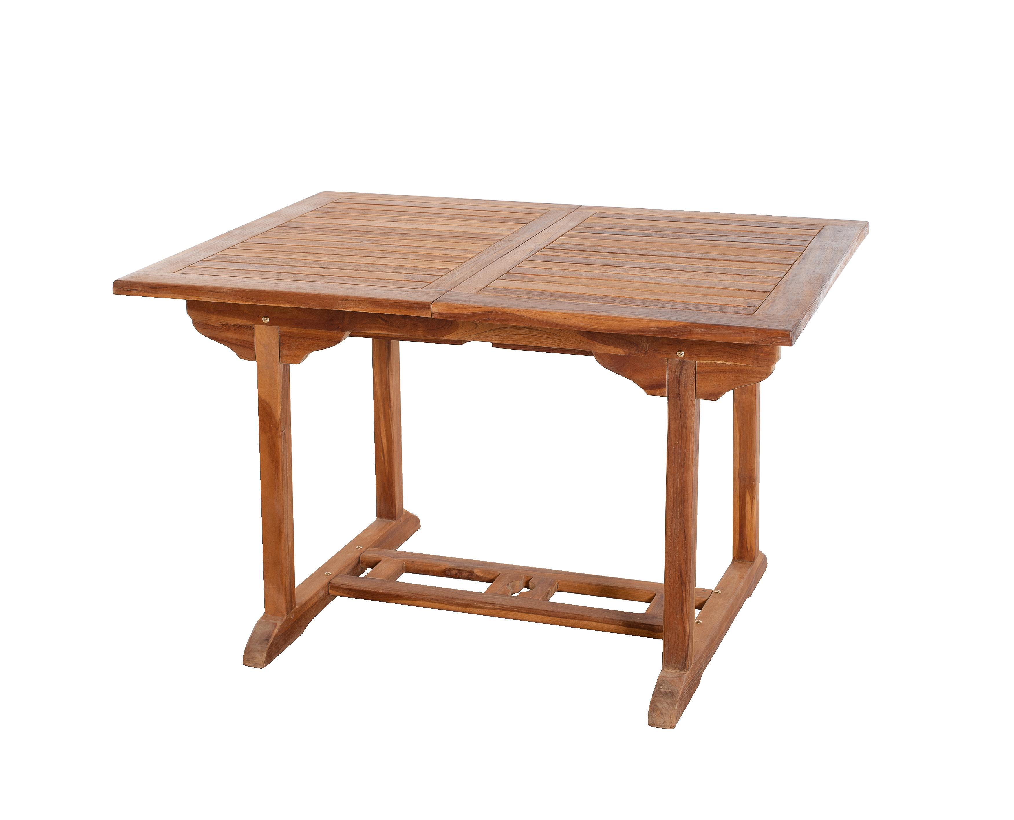 Table de jardin en teck huilé rectangle extensible 120/180x90x75 MACAO