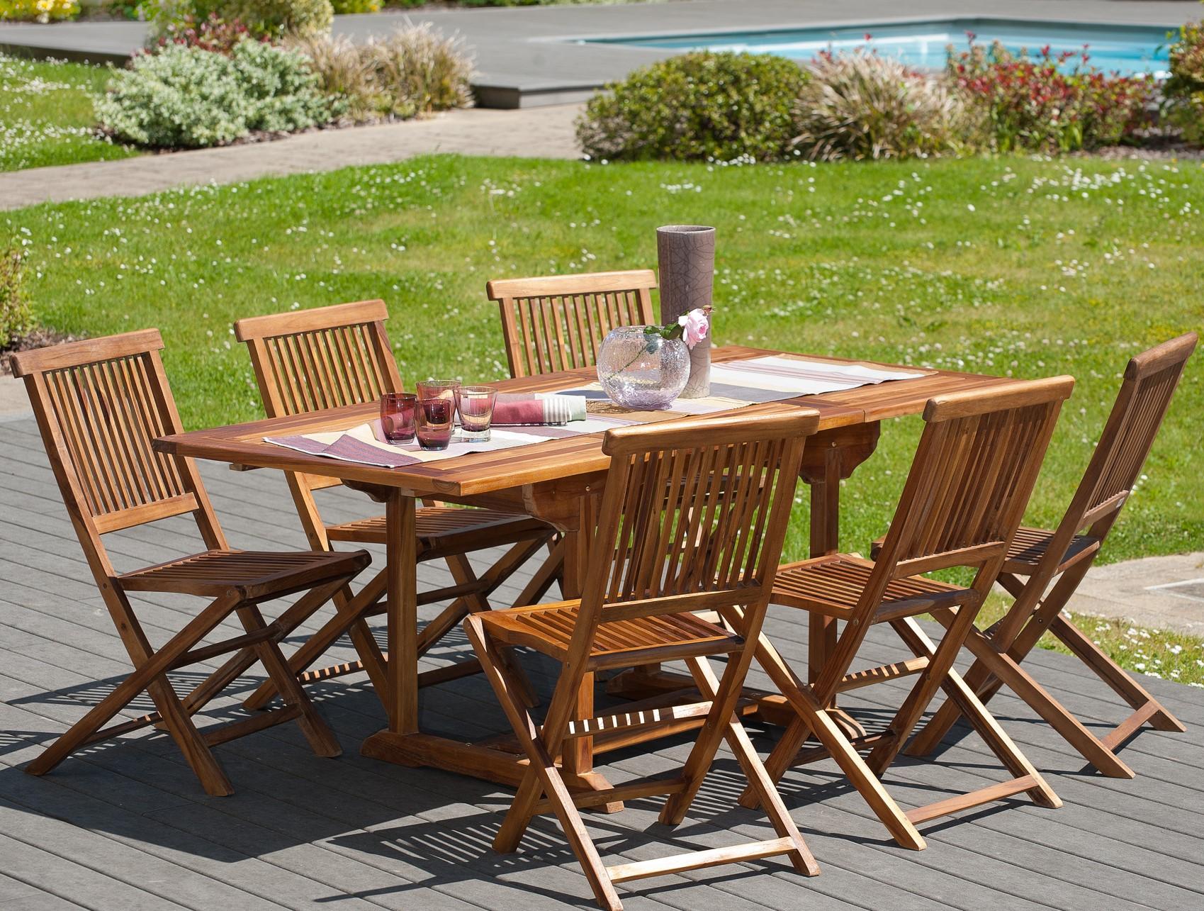 Salon De Jardin En Teck Huile Table Rectangulaire 120 180cm 6