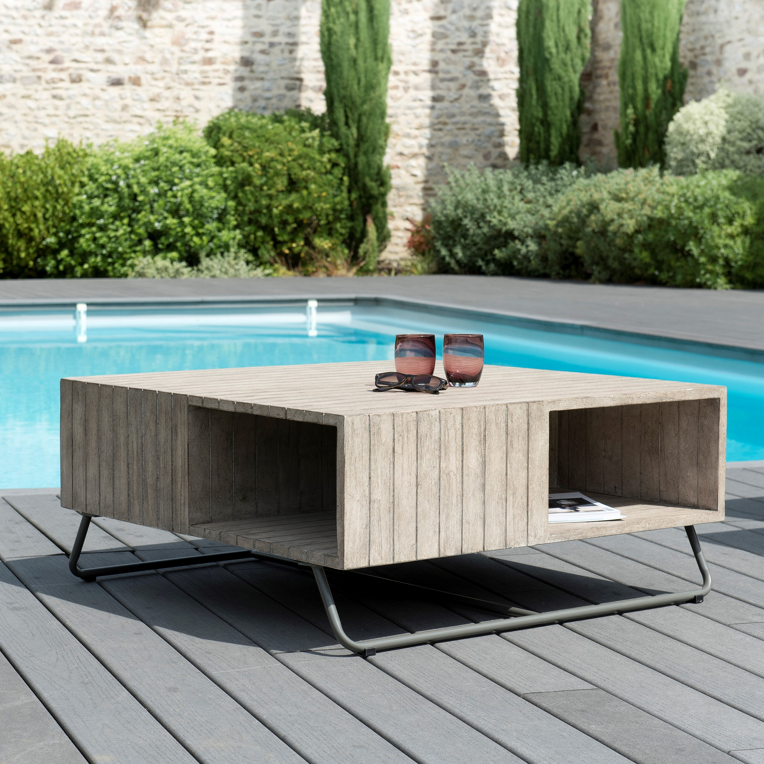 Table Basse Jardin Teck Carree 90x90cm Detroit Ref 30020819