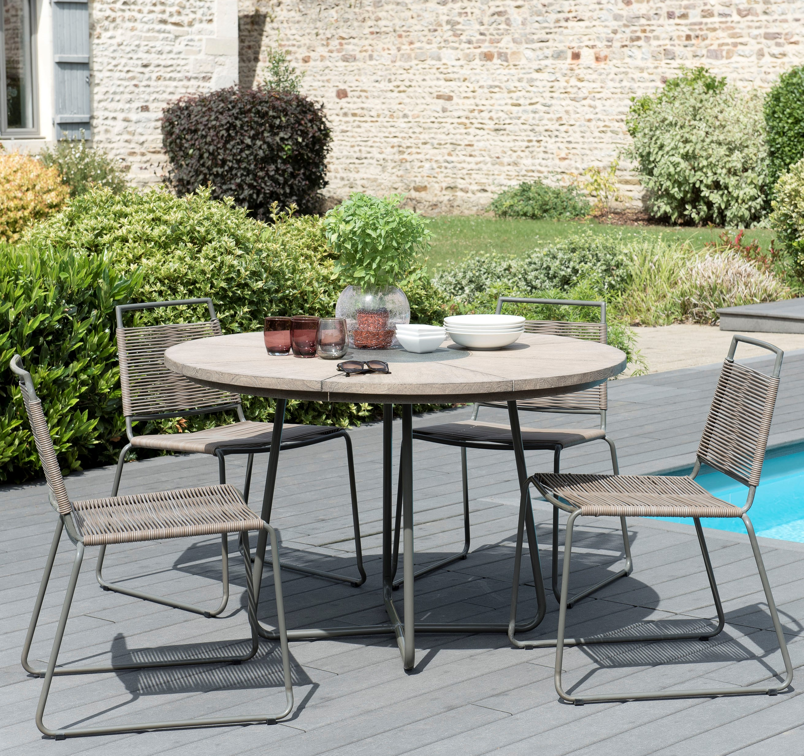 Salon de Jardin Teck Table D120 + 4 chaises cordage synthétique DETROIT  ref. 30020828