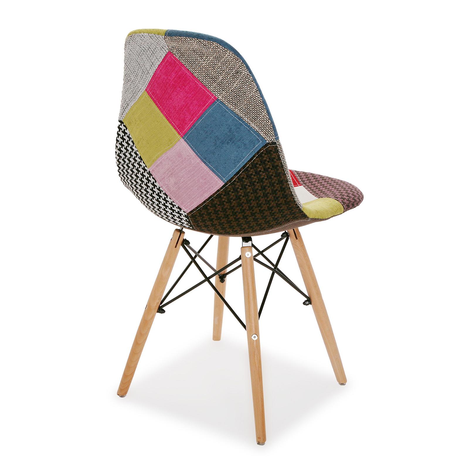Chaise scandinave patchwork mix tissus 1 (lot de 2