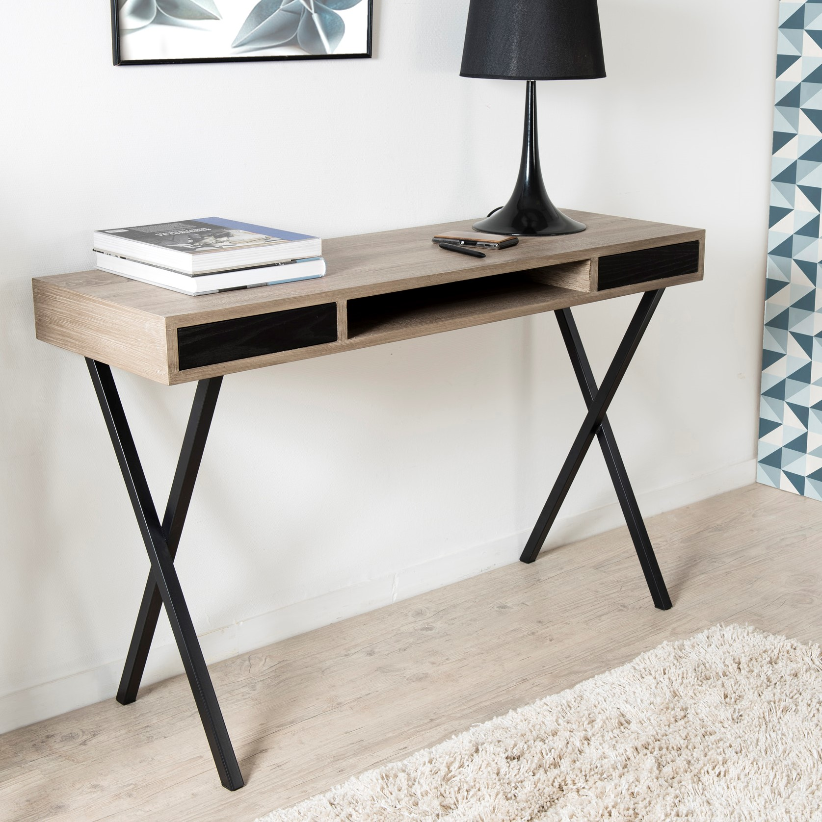 330 10 Sur Bureau Design Bois Arte L 124 X H 150 Cm Noir Achat Prix Fnac