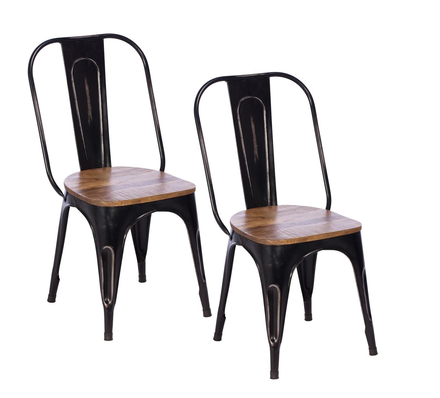 chaise industrielle metal noir bois recycle leeds lot de 2