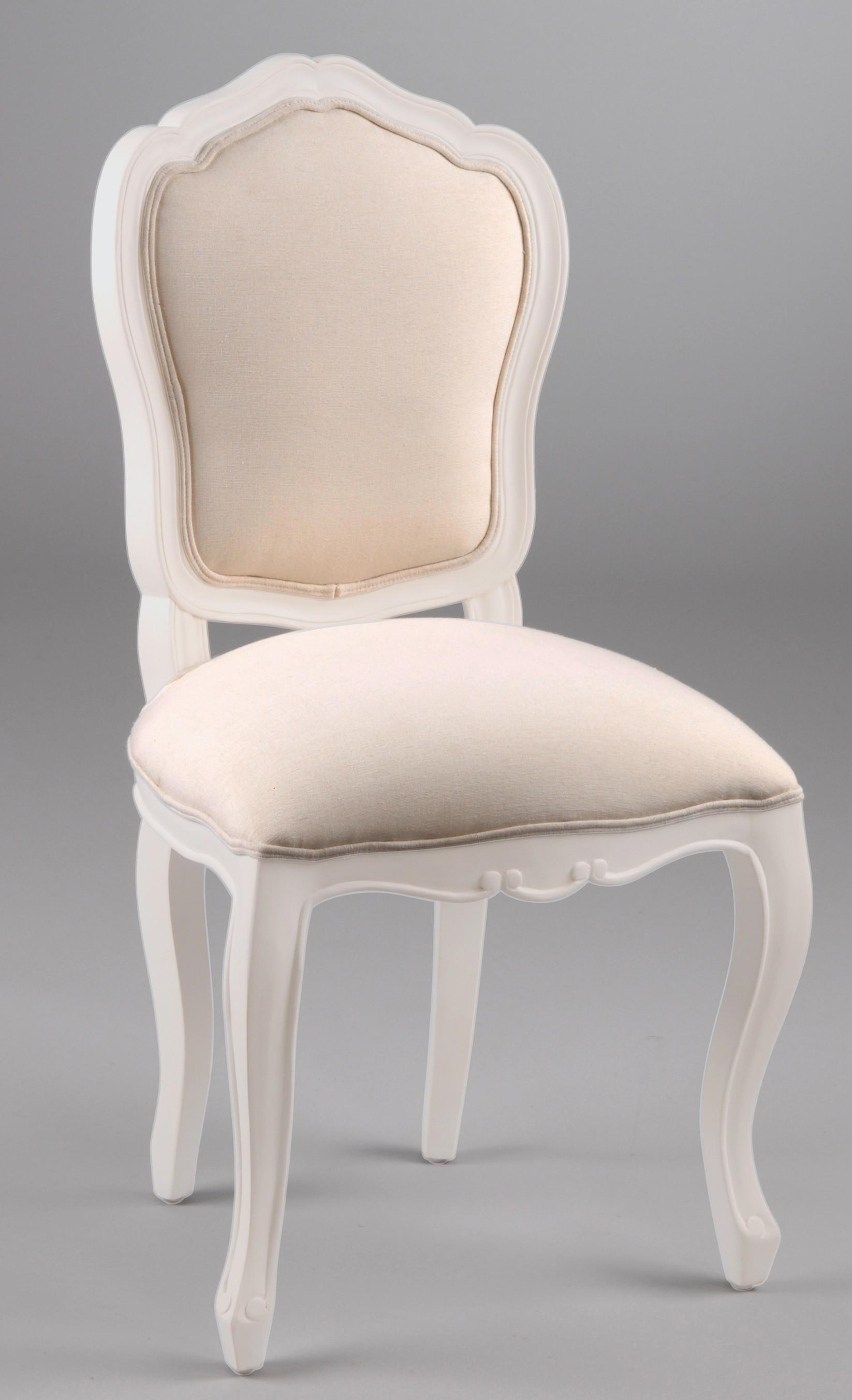 Chaise Louis XV baroque romantique bois blanc et tissu APOLLINE L 8 x P 8  x H 8 AMADEUS