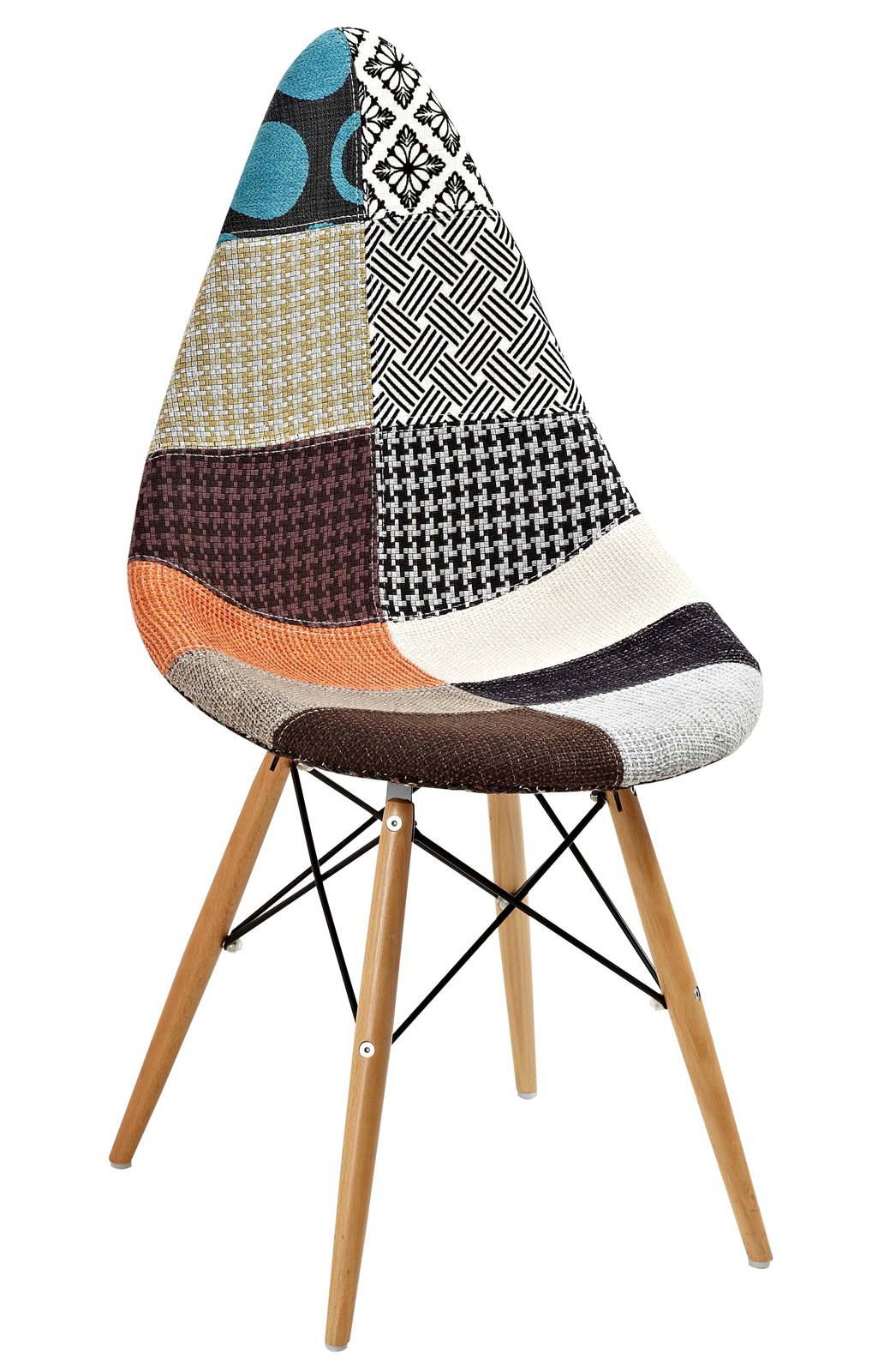 Chaise scandinave patchwork multicolore DROP