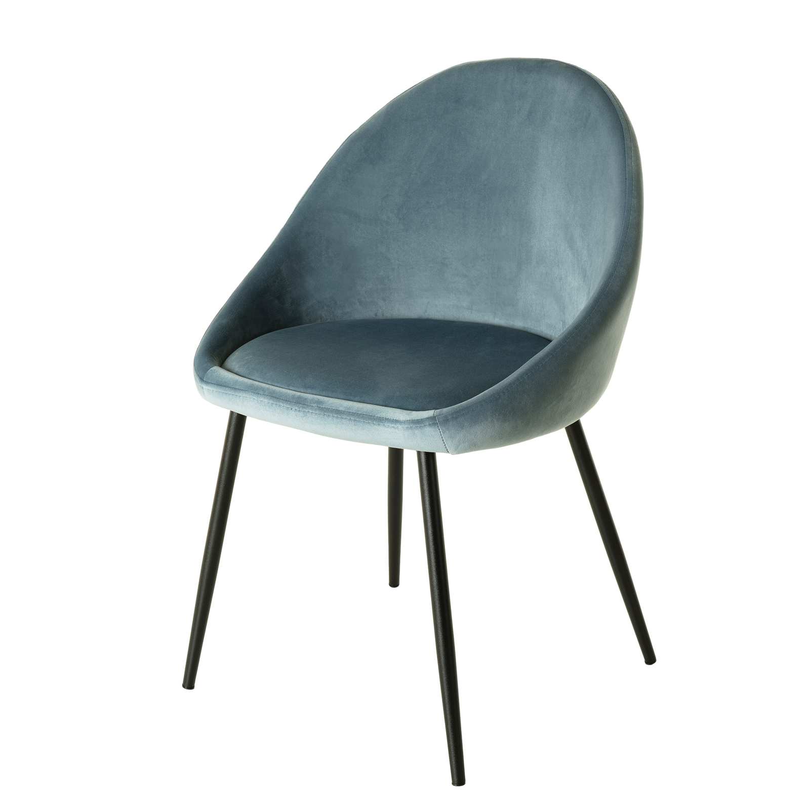 Chaise velours bleu TIM (lot de 5)