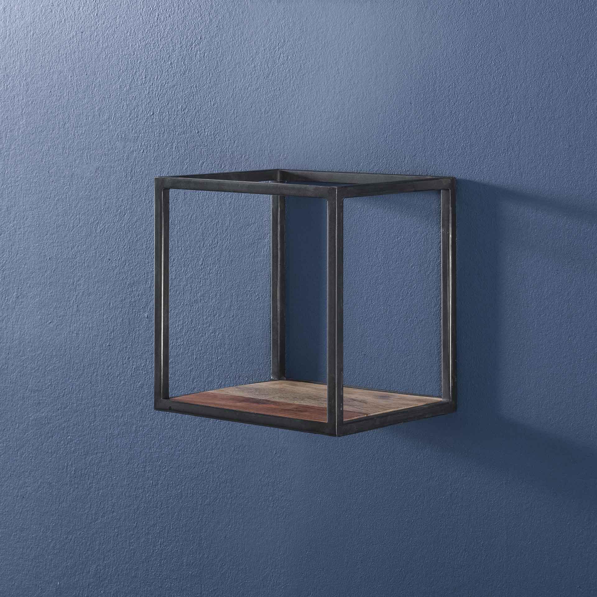 etagere cube bois d acacia metal 30 cm melbourne etageres murales pier import