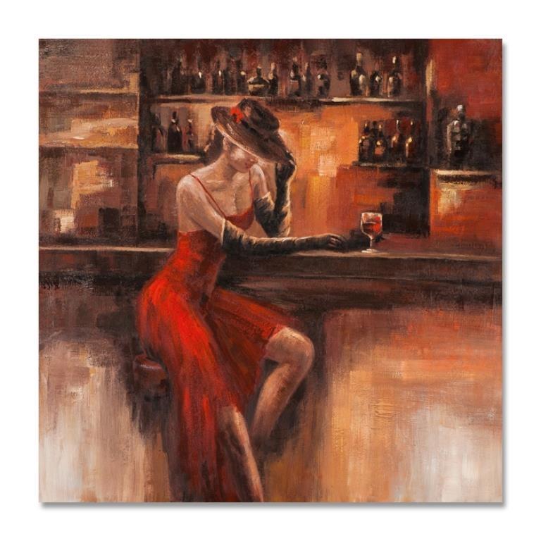 Femmes 100x100 Peinture Acrylique Carree Marron Et Rouge Tableaux Toiles Pier Import