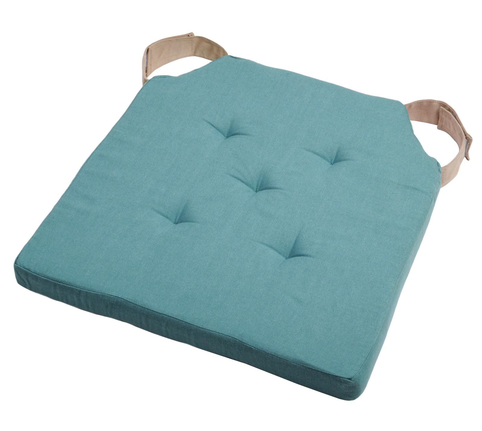 Galette de chaise bleu attaches par velcro couleur lin 6x6cm DUO