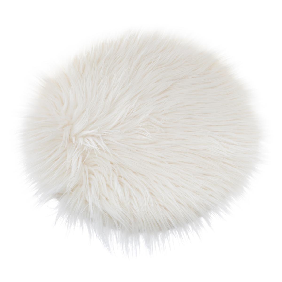 Galette de chaise ronde à poils longs ivoire D5 cm