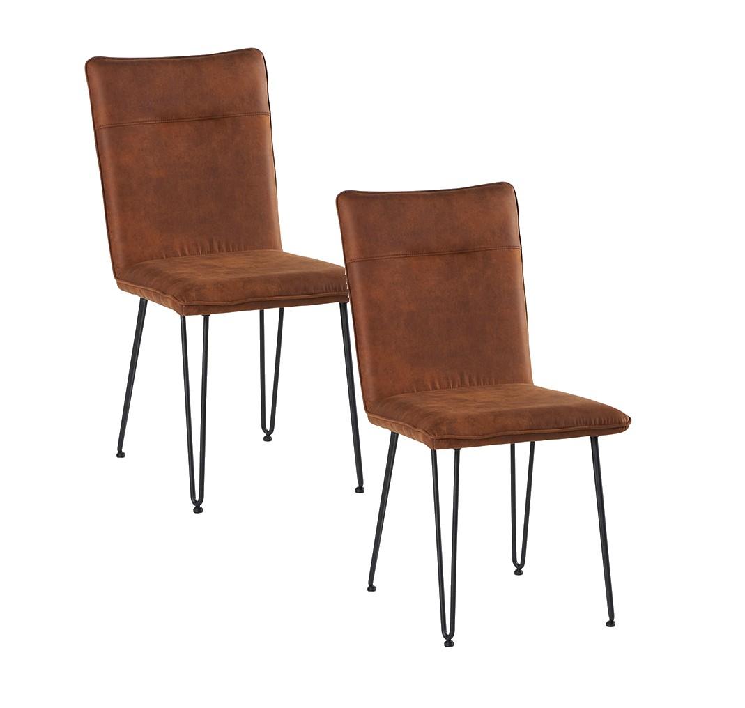 Lot de 6 Chaises en tissu marron havane et pieds métal en épingle  6x6x96cm KERALA