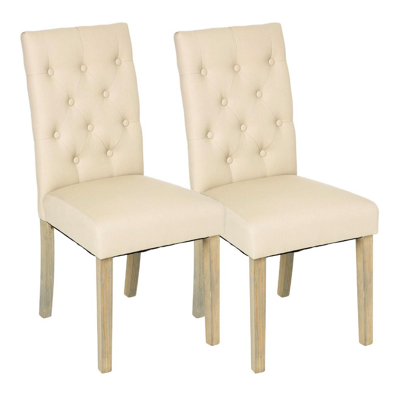 Lot de 5 Chaises moderne tissu beige dossier capitonné pieds bois