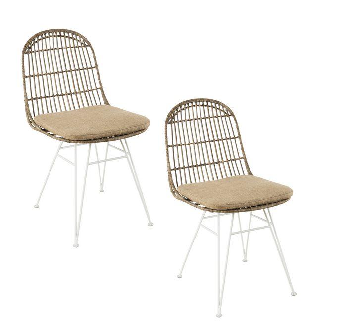 lot de 2 chaises rotin kubu dossier rond pieds metal blanc bogor