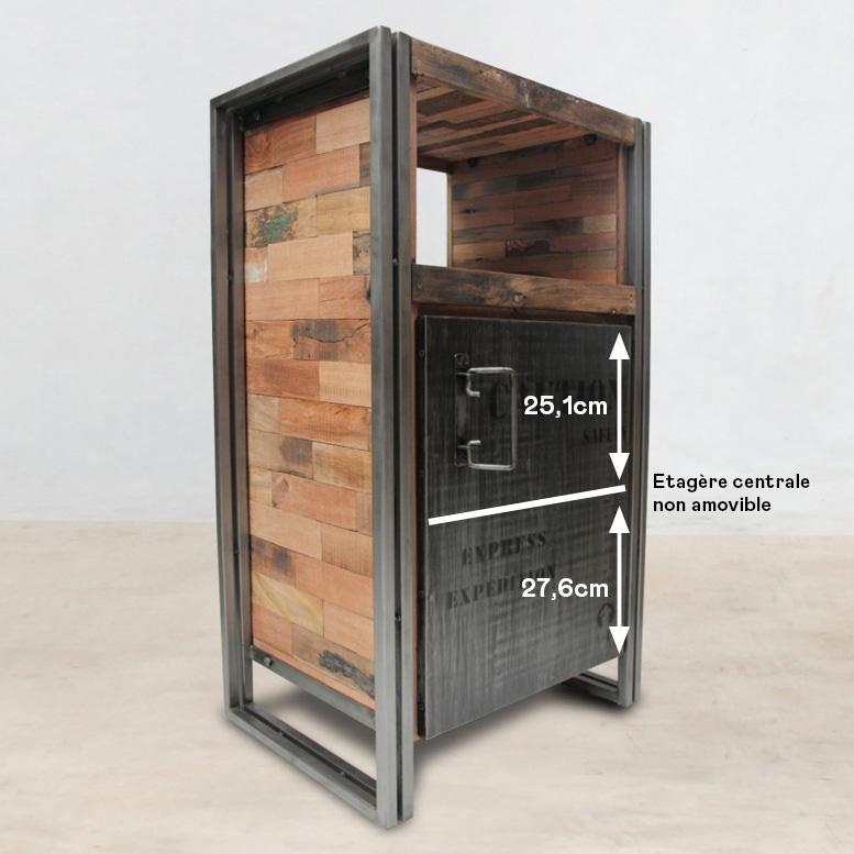 Meuble De Rangement Bois Recycle 1 Porte 60x107 Caravelle Bibliotheques Pier Import