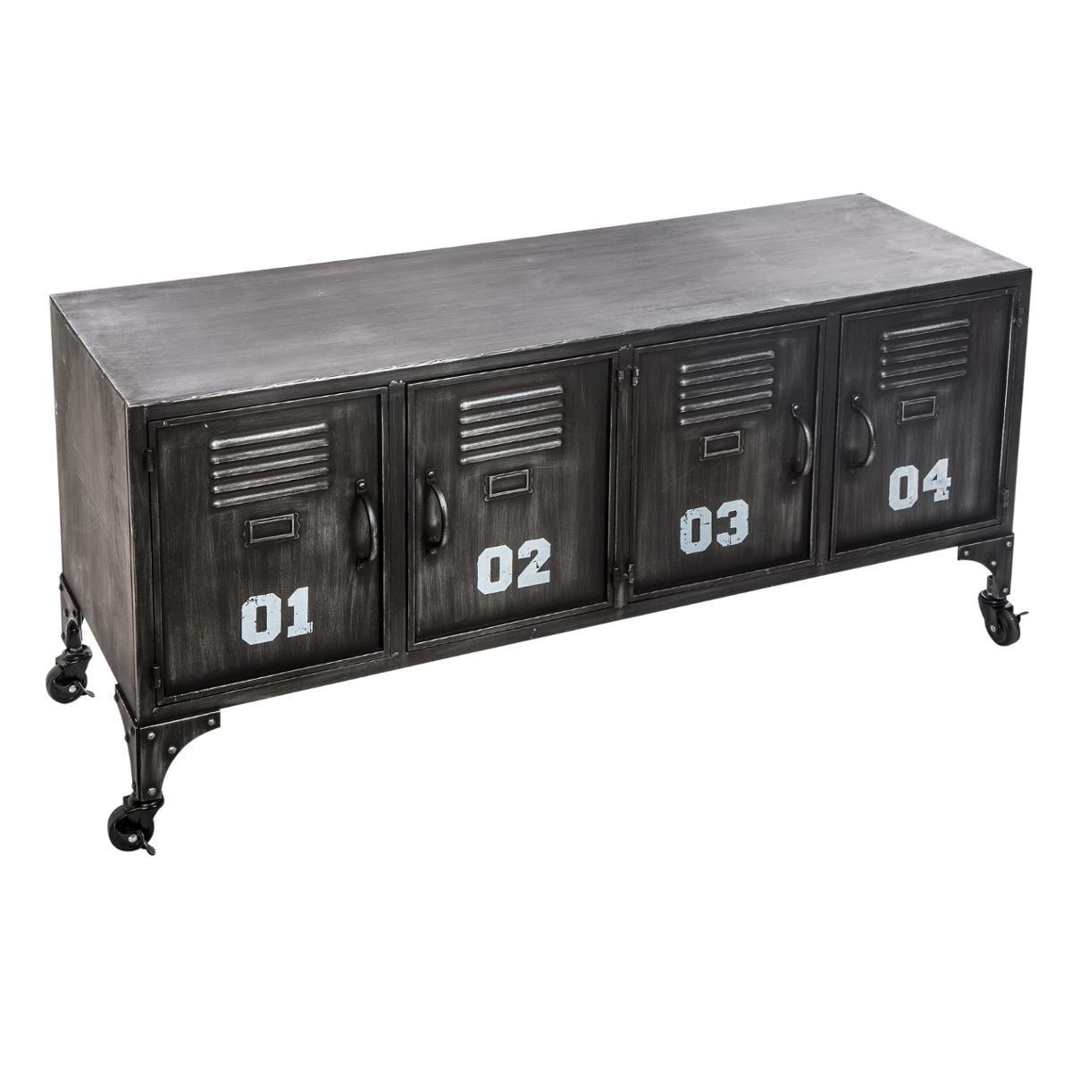 Meuble Rangement Bas Metal Noir 4 Portes Ref 30022127 Petits Meubles De Rangement Pier Import