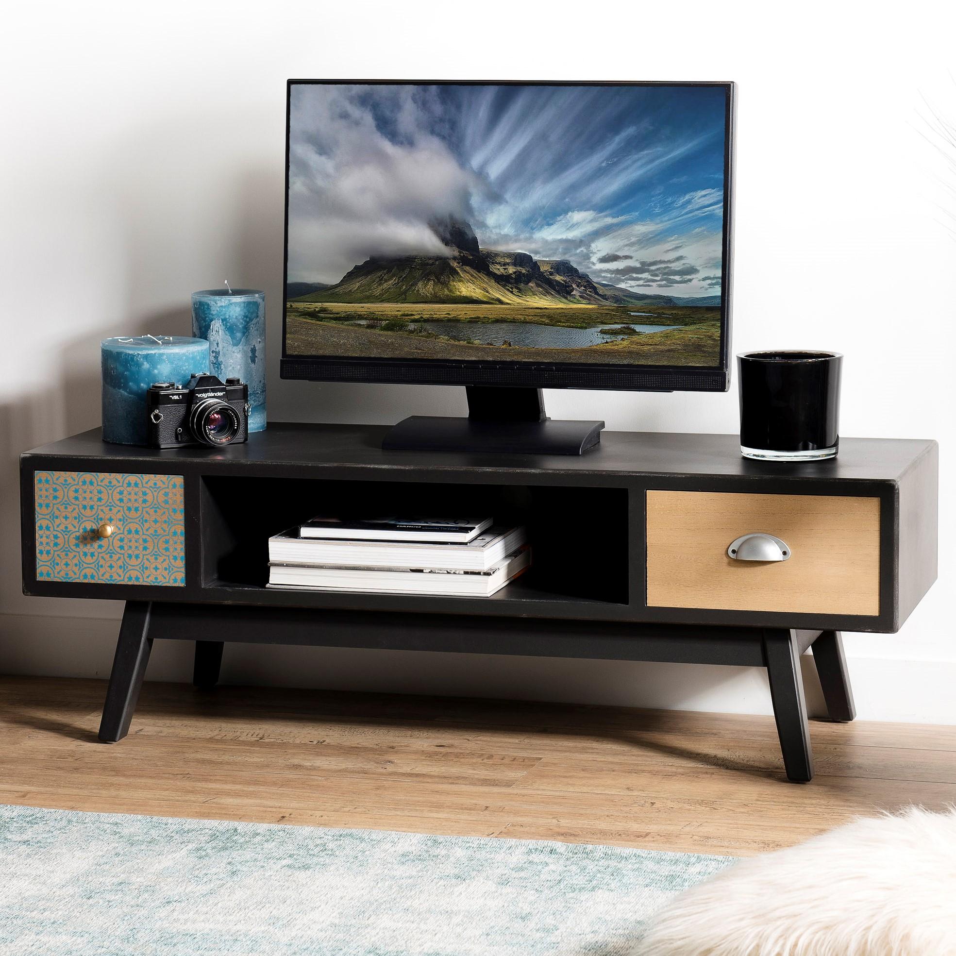 Meuble Tv 2 Tiroirs Patchwork 120 Cm Leonard Meubles Tv Pier Import