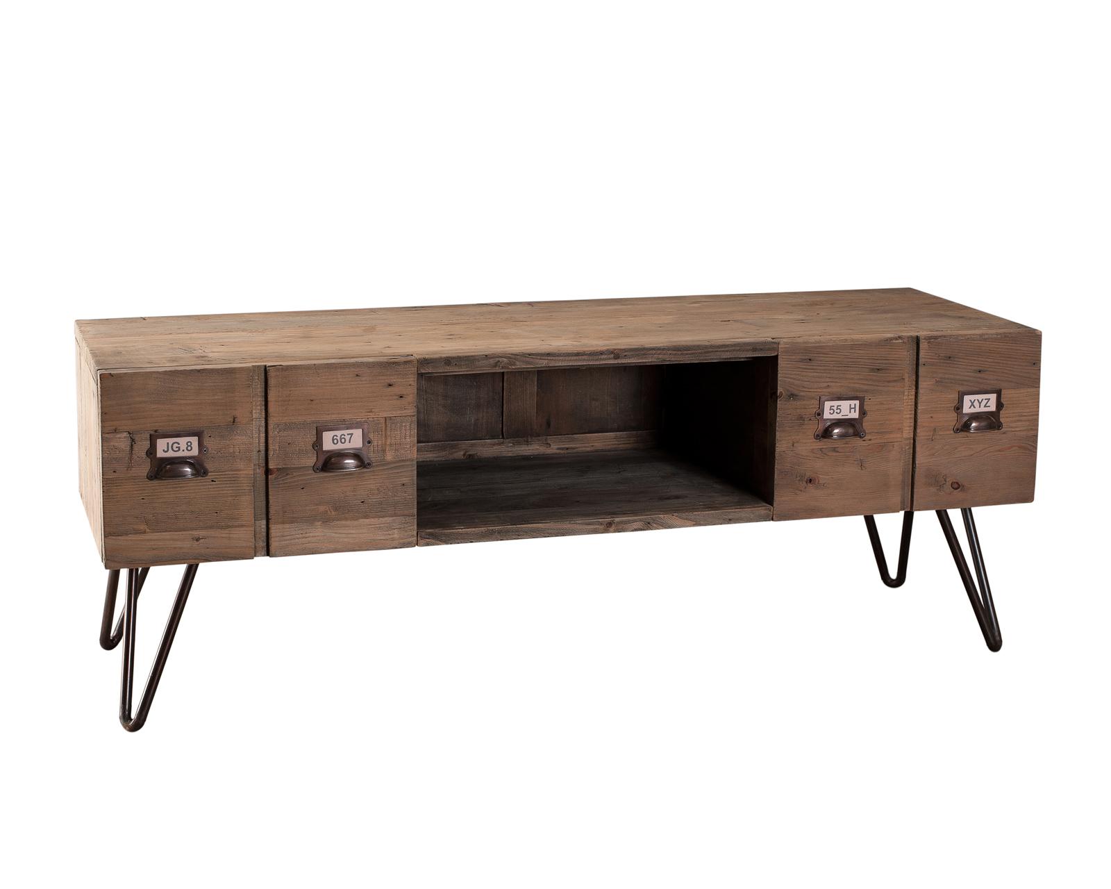 meuble tv 2 tiroirs pin recycle 130 5x40 5x48 5cm atelier meubles tv pier import