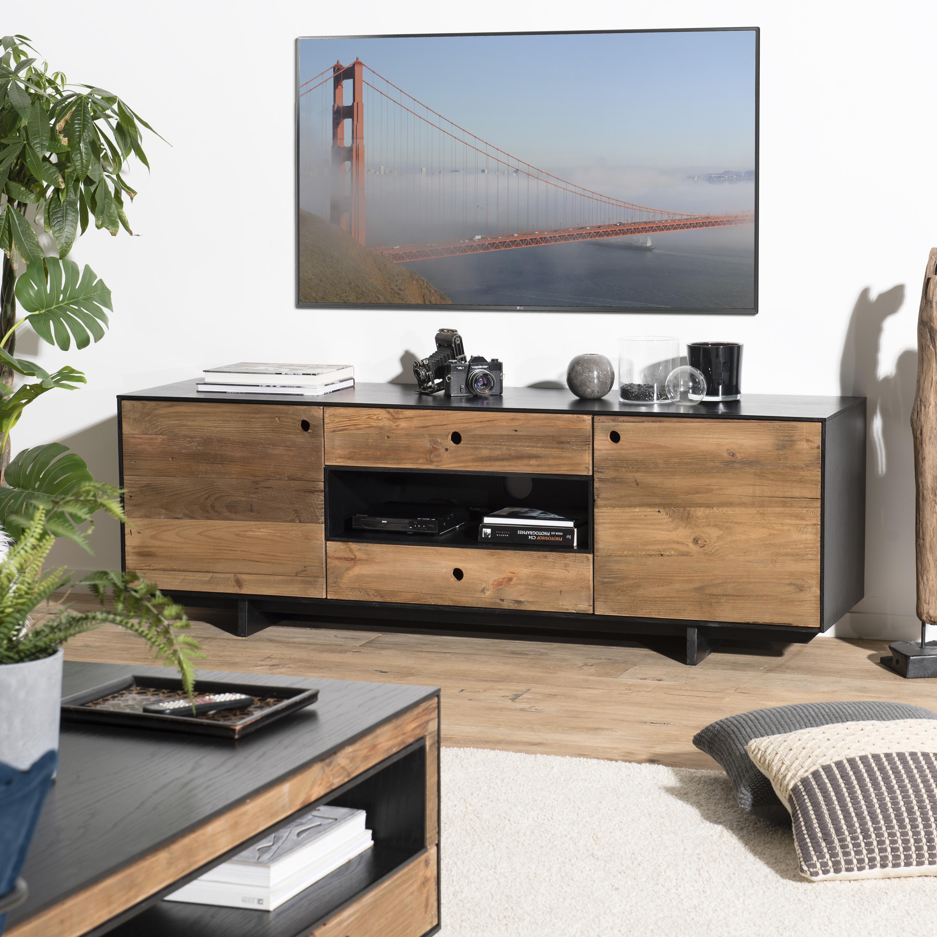 Meuble Tv Avec Rangement Bois Recycle Pin Cracovie Meubles Tv Pier Import