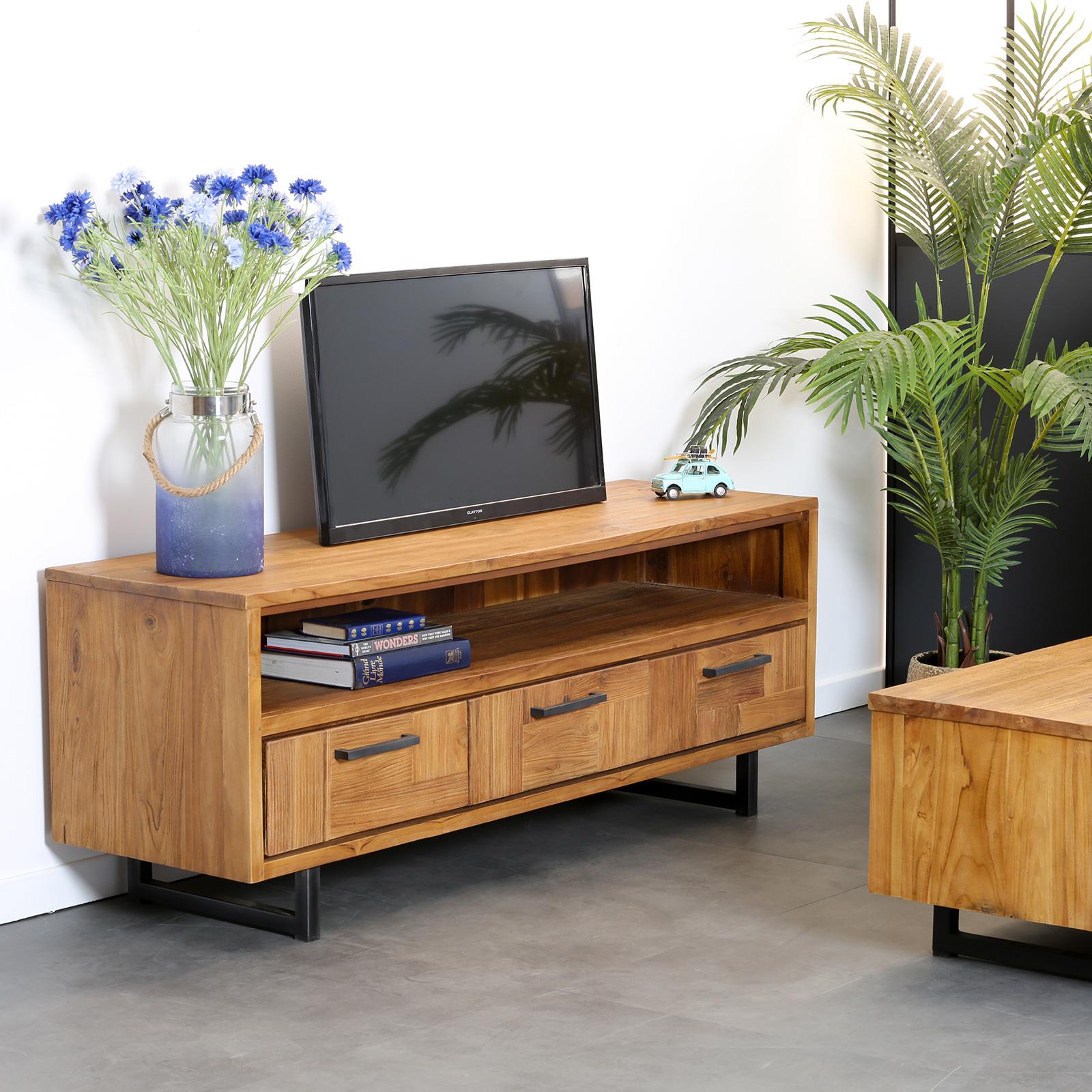 meuble tv avec rangement teck bali