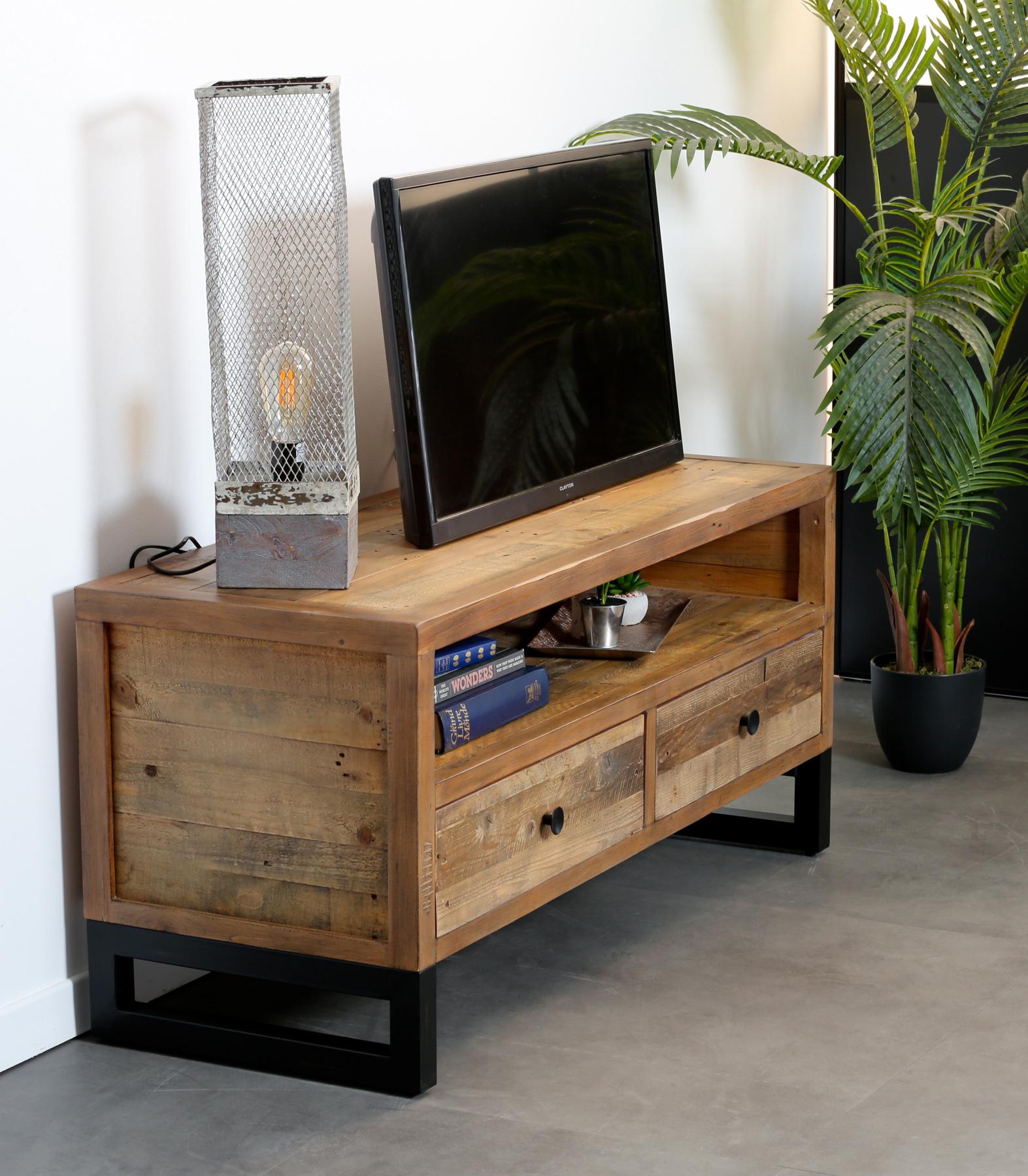 Meuble Tv Bois Recycle 2 Tiroirs Brisbane Meubles Tv Pier Import