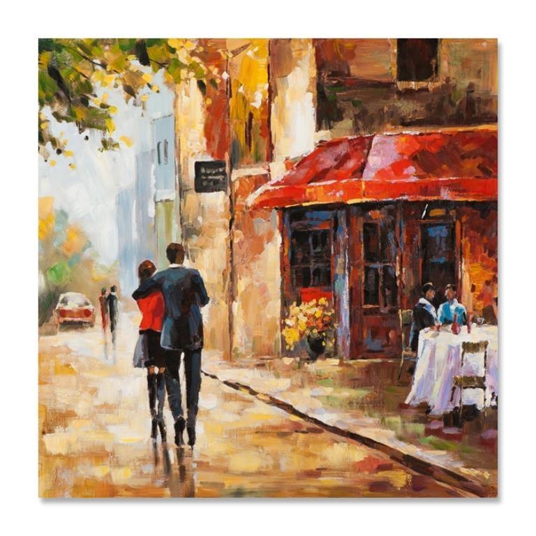 Paysages Urbains 70x70 Peinture Acrylique Carree Beige Et Rouge Tableaux Toiles Pier Import