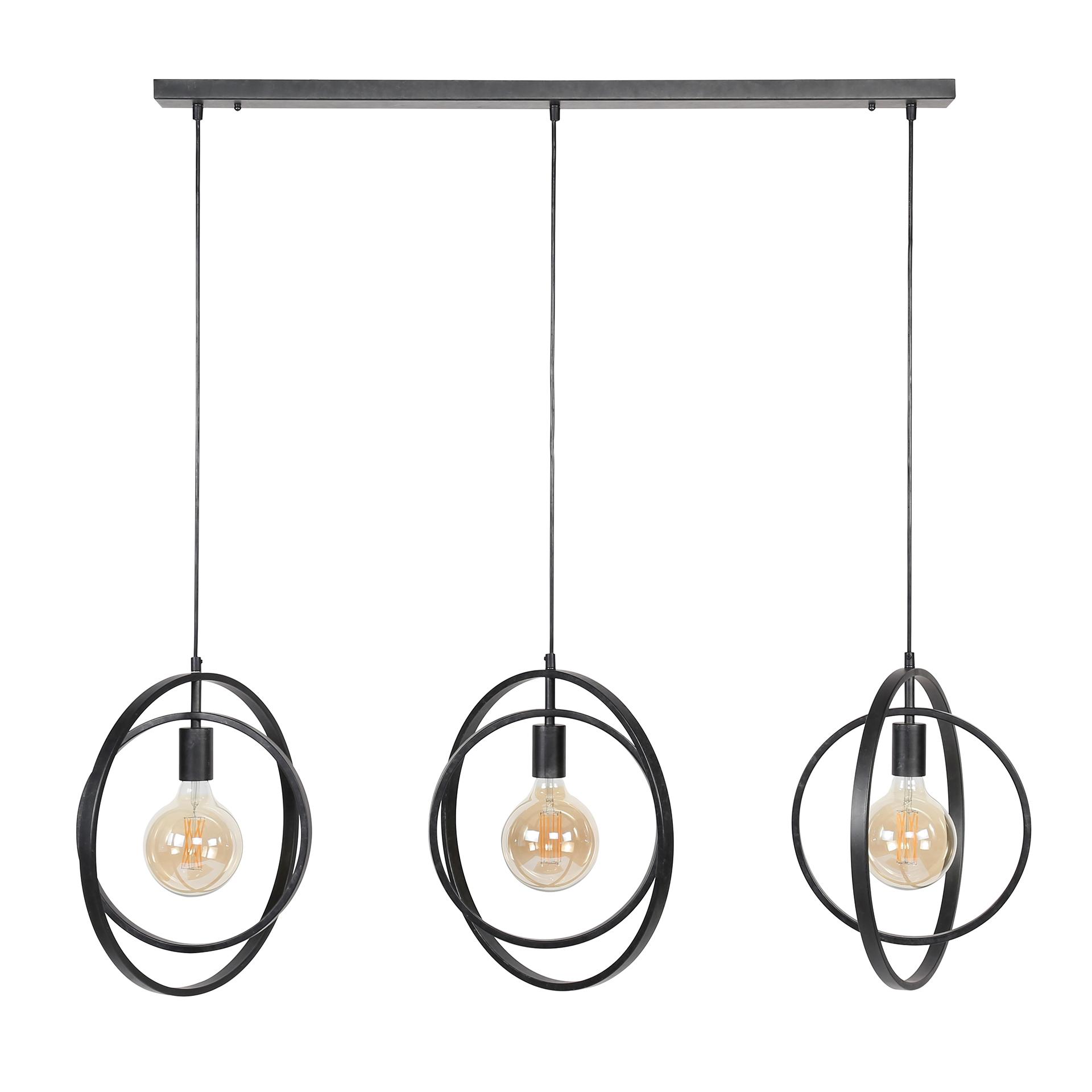 suspension industrielle 3 lampes anneaux croisés tribeca