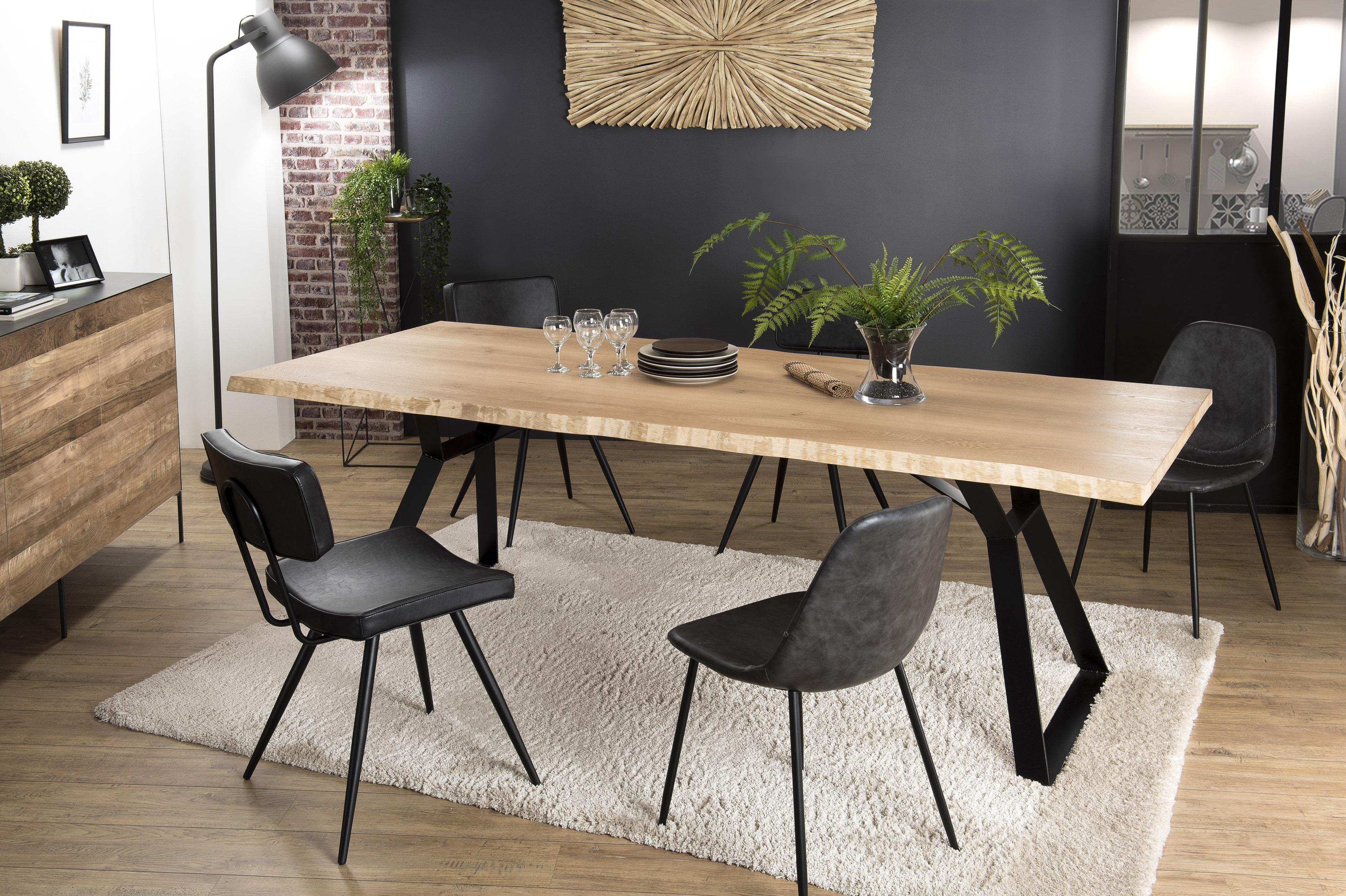 table a manger contemporaine chene acier 230x100 panama