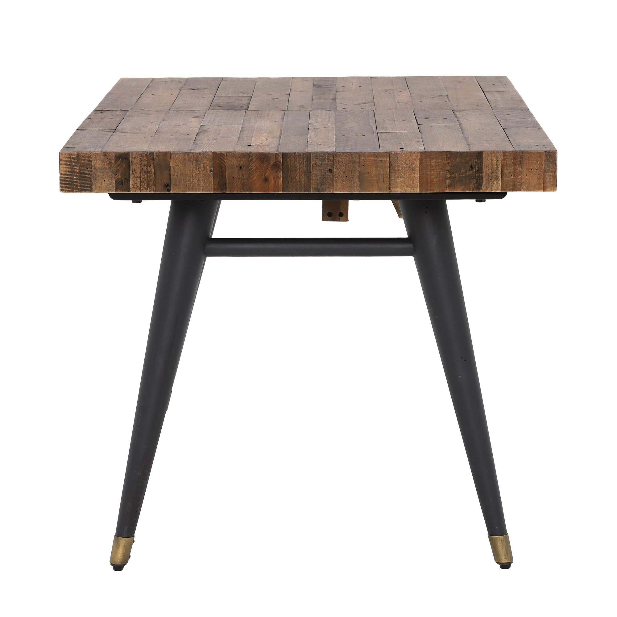 Table à manger extensible bois recyclé piètement effet laiton vieilli  7-7 cm ADÉLAÏDE
