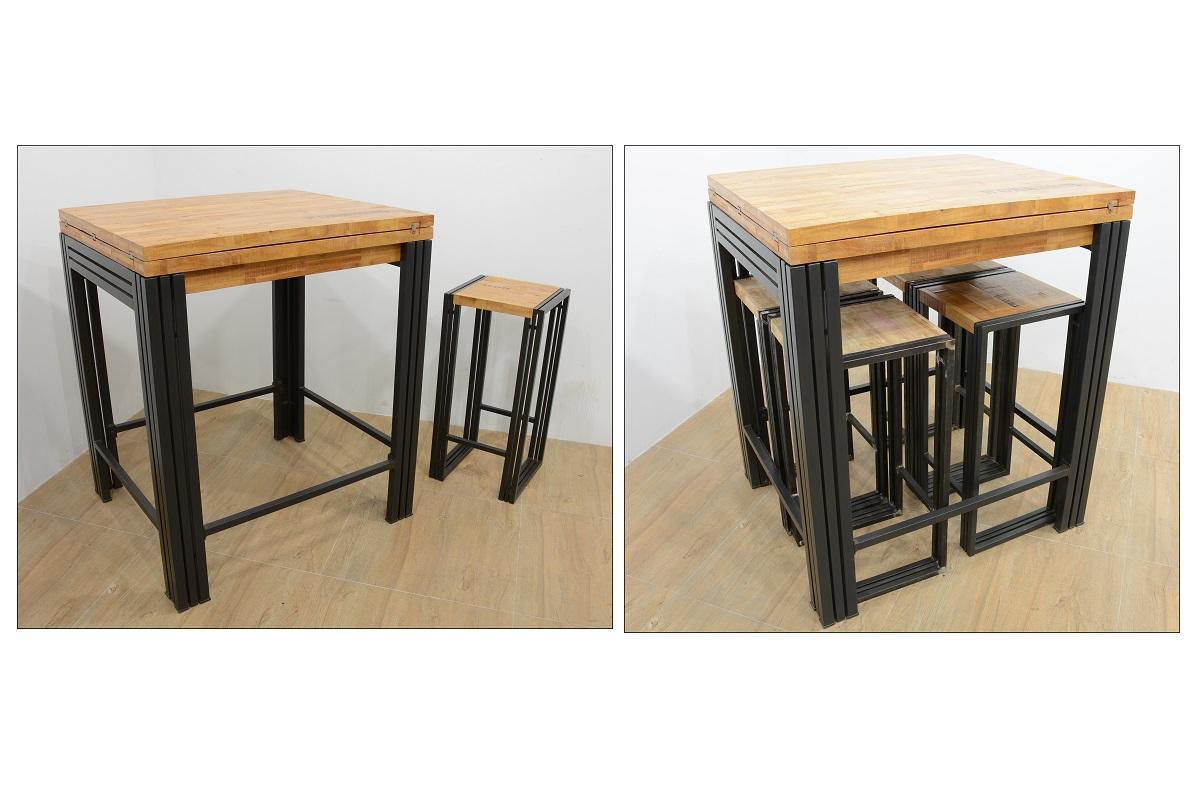 Table bar / Mange debout rectangle extensible hévéa recyclé naturel et  métal noirci 7/7X7X7cm DOCKER