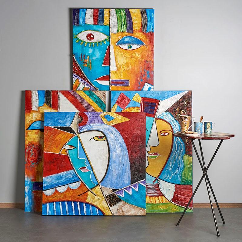 Details about  /IMAGE SUR VERRE TABLEAUX Abstraction visage multicolore 30 FORMES FR 3051