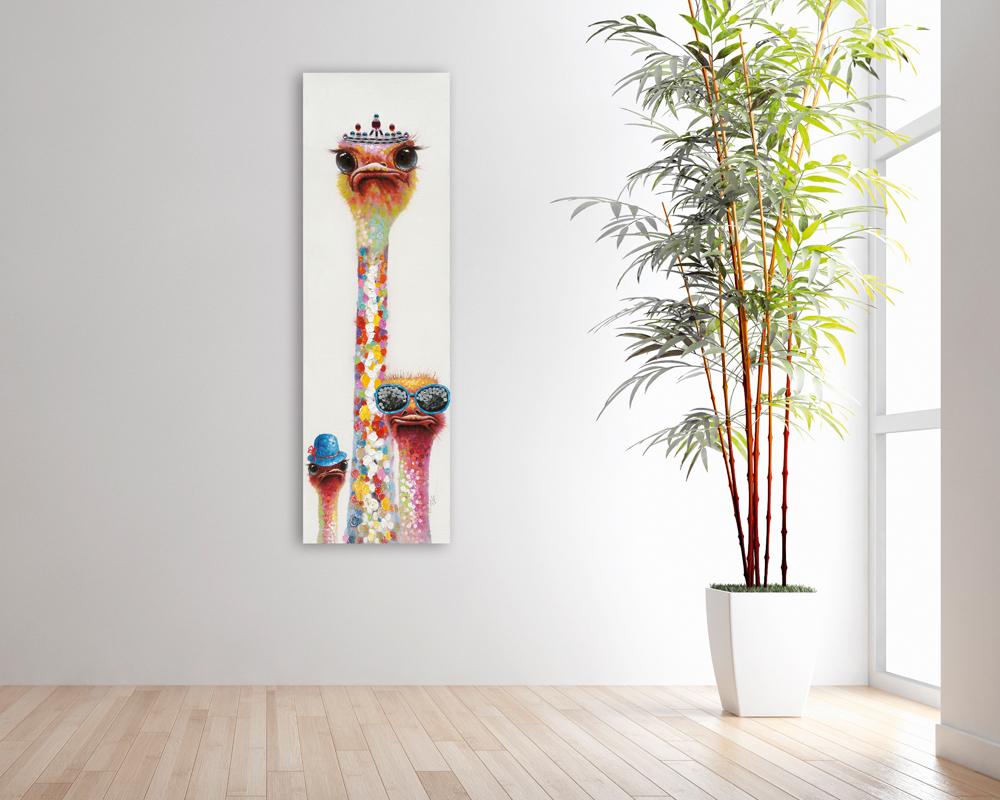 Tableau Autruches Pop Art 50x160 Argente Peinture Acrylique Effet Paillete Tableaux Toiles Pier Import
