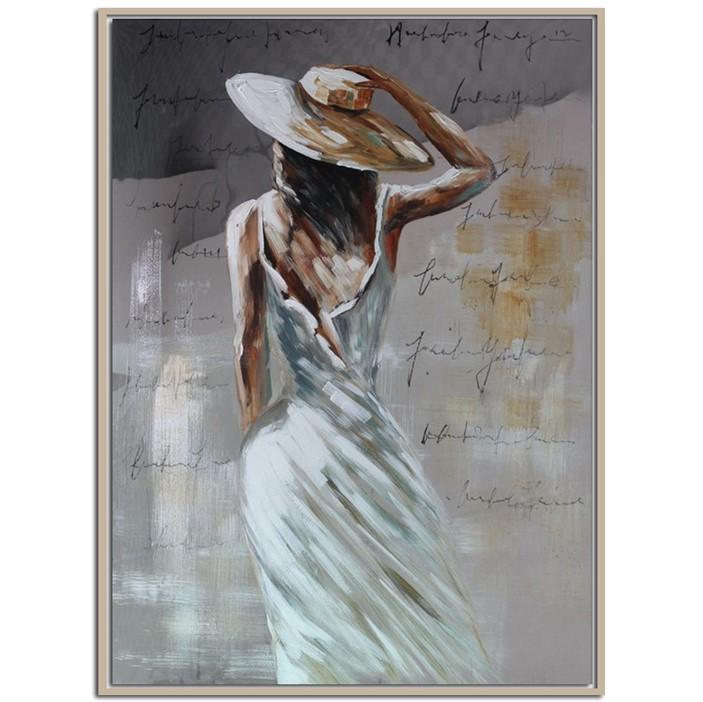 Tableau Femme De Dos Avec Chapeau Effet Miroir Tableaux Toiles Pier Import