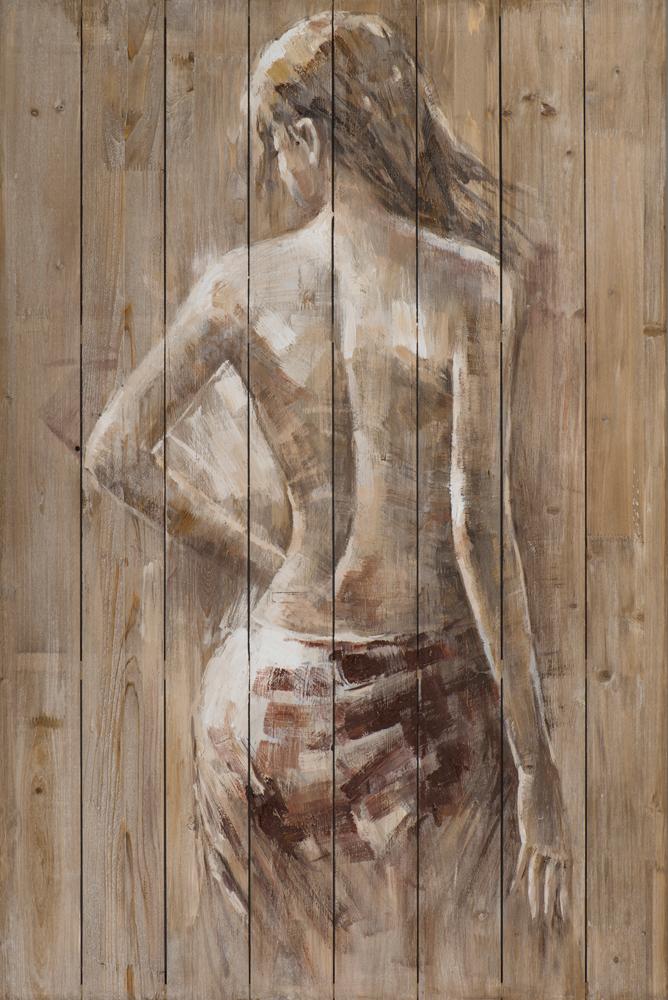 Tableau Femme Nue Drapee De Dos Tons Beige Et Blancs 80x120cm Tableaux Toiles Pier Import